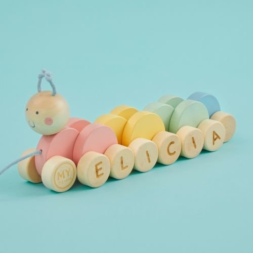 Personalised Colourful Pull Along Caterpillar
