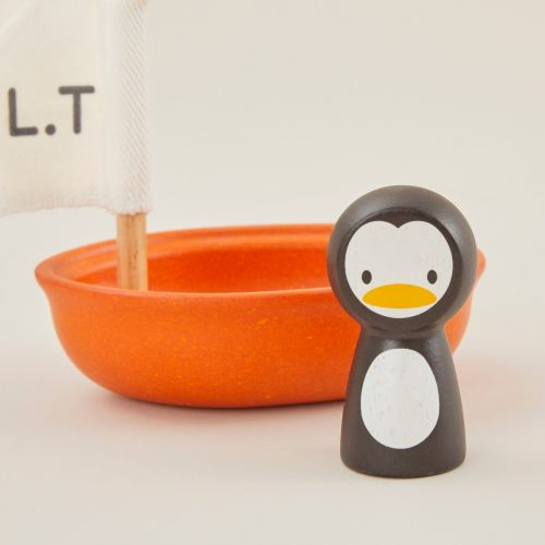 Personalised Plan Toys Penguin Sailing Boat Bath Toy