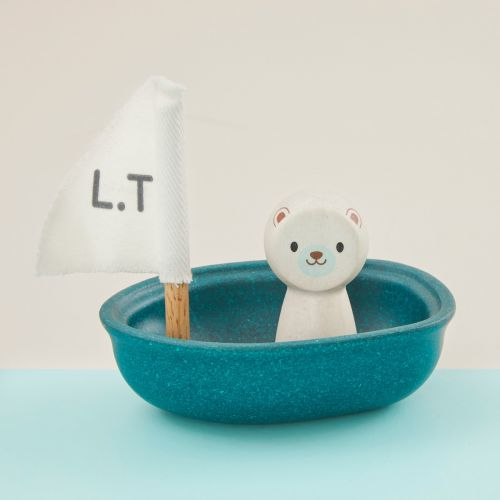 Personalised Plan Toys Polar Bear Sailing Boat Bath Toy