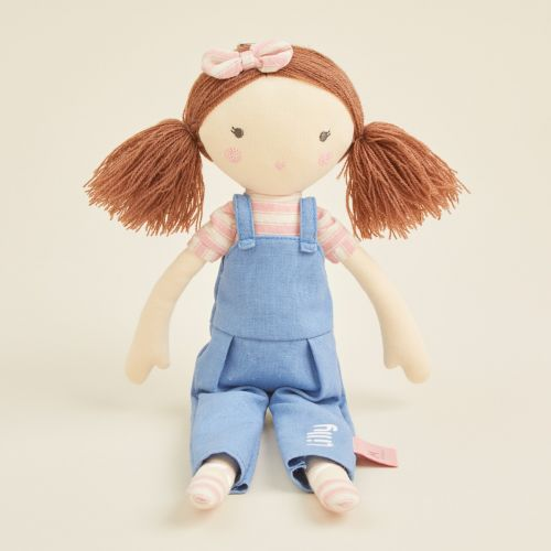 Personalised Soft Doll in Denim Dungarees