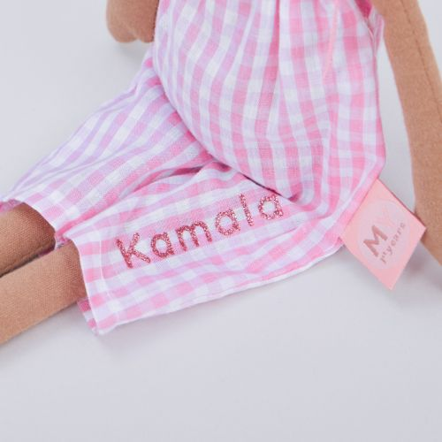 Personalised Soft Doll in Gingham Outfit