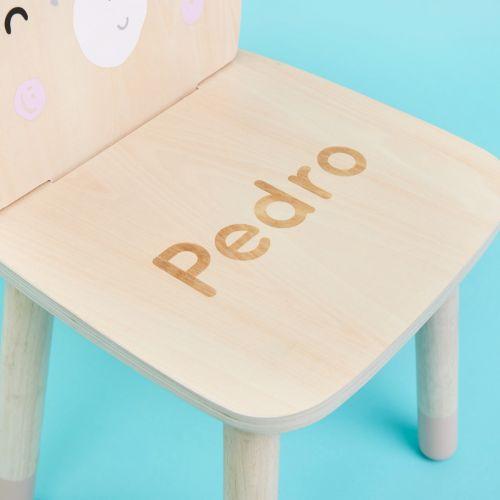 Personalised Wooden Bear Design Children's Chair