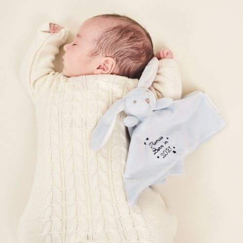 Personalized 'Born in 2021' Blue Bunny Lovey