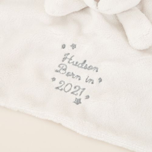 Personalized 'Born in 2021' Gray Bunny Lovey