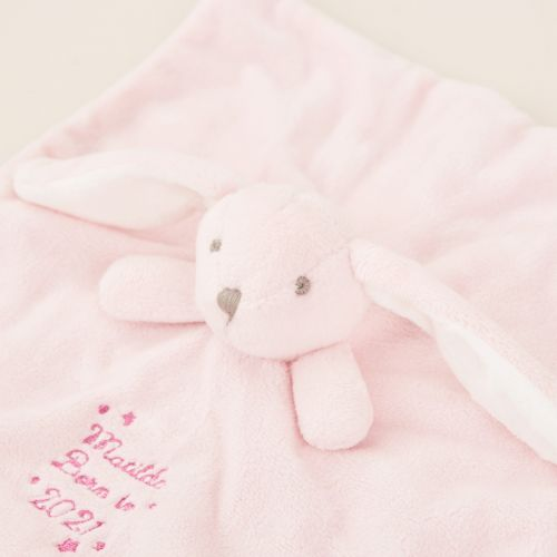 Personalised 'Born in 2021' Pink Bunny Comforter