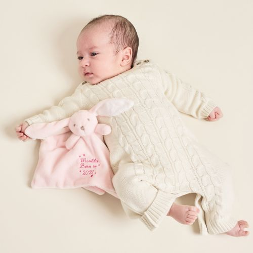 Personalized 'Born in 2021' Pink Bunny Lovey