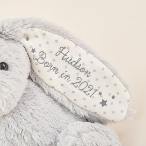 Personalised 'Born in 2021' Grey Bunny Soft Toy