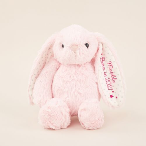 Personalized 'Born in 2021' Pink Bunny Soft Toy