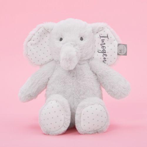 Personalised Light Grey Elephant Soft Toy