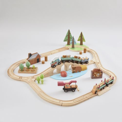 Personalised Tenderleaf Wild Pines Wooden Toy Train Set