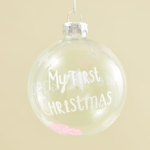 Personalised My 1st Christmas Glass Bauble with Pink Beads