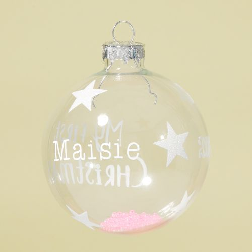 Personalised Sass & Belle My 1st Christmas Glass Bauble with Pink Beads