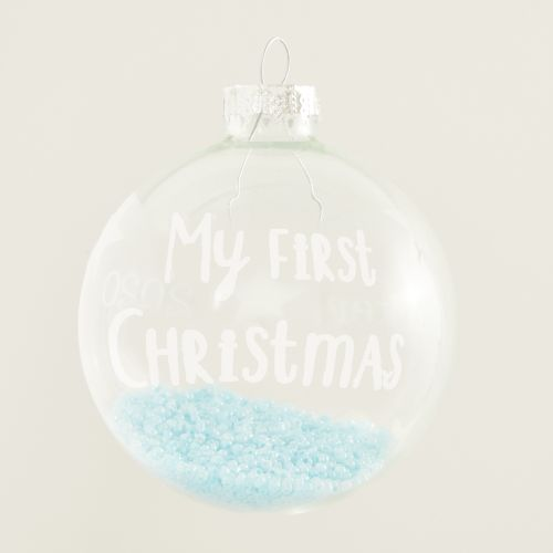 Personalized My 1st Christmas Glass Tree Ornament with Blue Beads