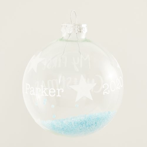 Personalized Sass & Belle My 1st Christmas Glass Tree Ornament with Blue Beads