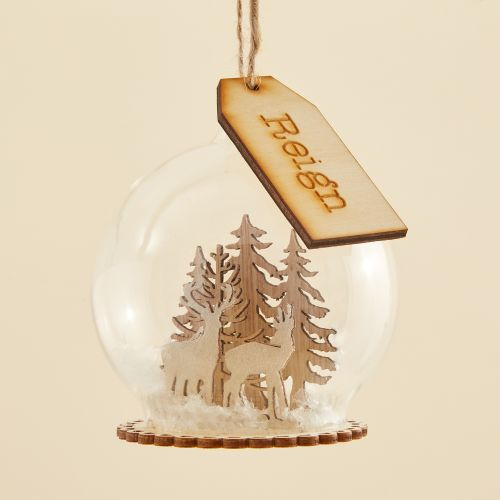 Personalized Glass Bauble with Wooden Reindeer Scene