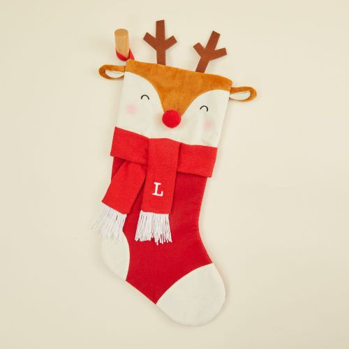 Personalized Medium Reindeer Face Stocking