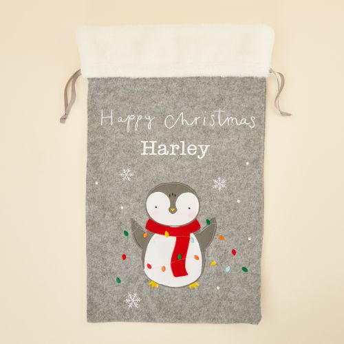 Personalized Fur Top Penguin Christmas Sack