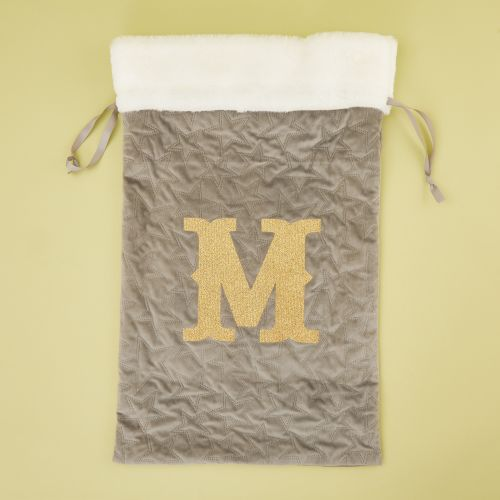 Personalized Embossed Gray Velvet Christmas Sack