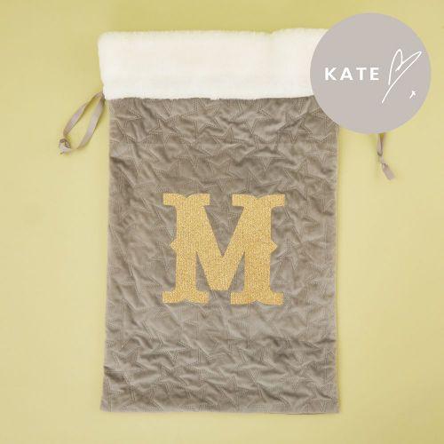 Personalised Embossed Grey Velvet Christmas Sack