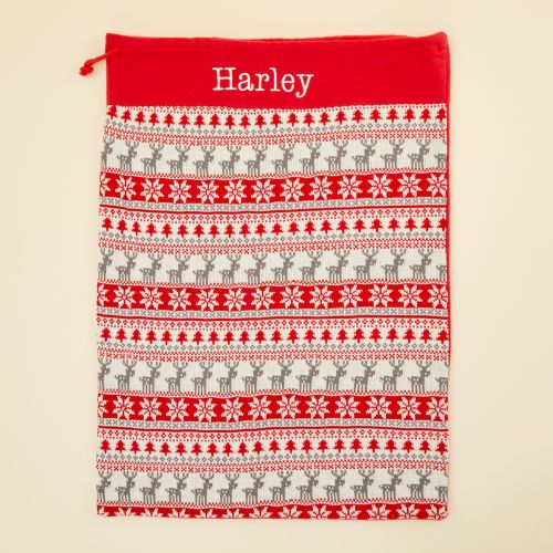 Personalized Red Fairisle Christmas Sack