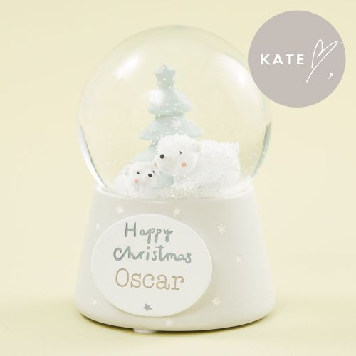 Personalised Polar Bear Scene Snow Globe