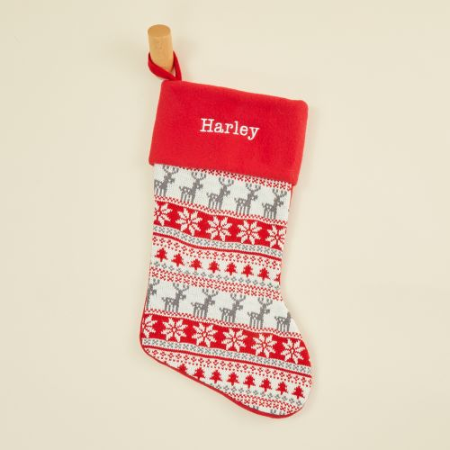 Personalized Red Fairisle Stocking