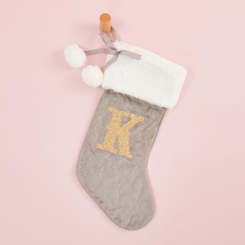 Personalized Embossed Gray Velvet Stocking