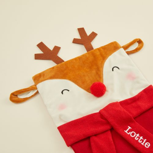Personalized Large Reindeer Face Stocking