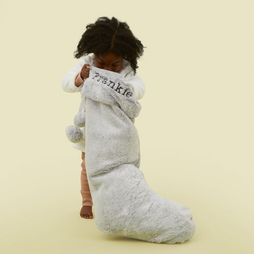 Personalized Extra Large Gray Faux Fur Stocking Model