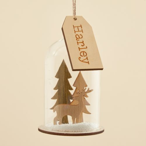 Personalized Dome Glass Bauble with Wooden Reindeer Scene