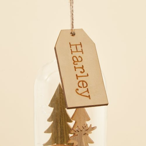 Personalized Sass & Belle Dome Glass Tree Ornament with Wooden Reindeer Scene