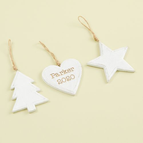 Personalized Set of 3 White Wooden Tree Decorations