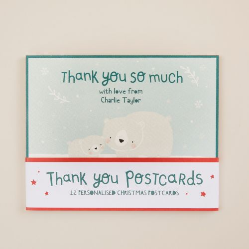 Personalised Christmas Design 'Thank You' Postcards (Pack of 12)