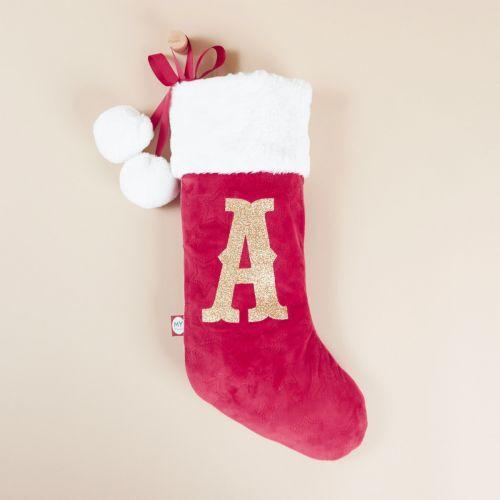 Personalised Small Red Embossed Velvet Stocking
