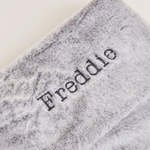Personalised Large Grey Faux Fur Stocking