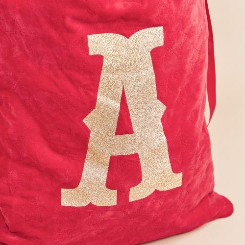 Personalised Red Embossed Velvet Sack