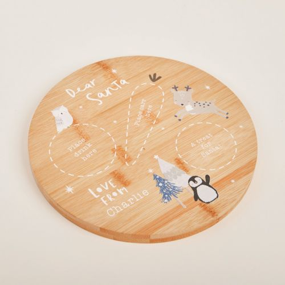Personalised Wooden Penguin & Friends Platter for Santa
