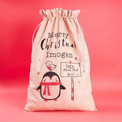 Personalised Little Robin Hessian Christmas Sack