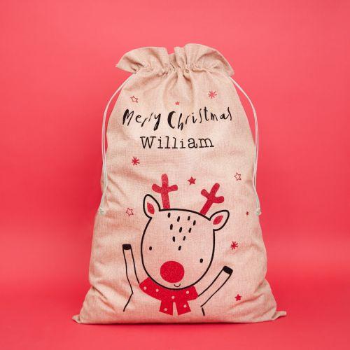 Personalised Reindeer Design Christmas Hessian Sack