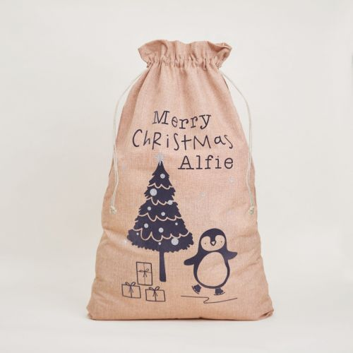 Personalised Penguin Design Christmas Hessian Sack