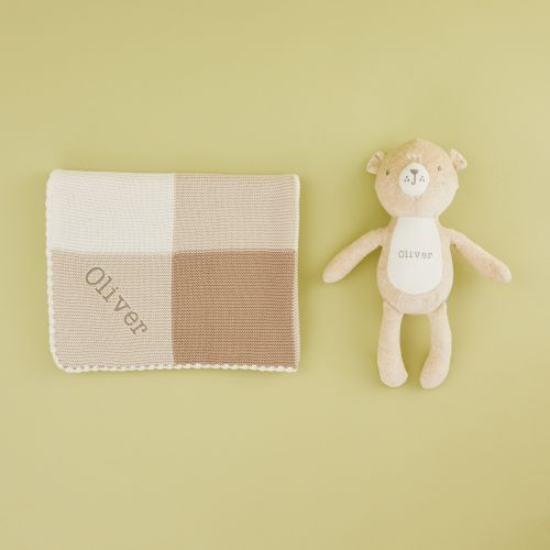 Personalized Unisex Neutral Blanket & Bear Gift Set