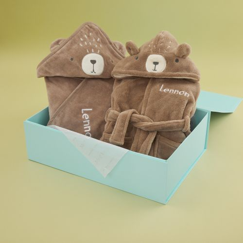 Personalized Bear Robe and Hooded Towel Gift Set
