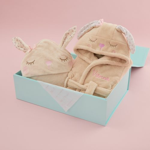 Personalised Bunny Robe and Hooded Towel Gift Set