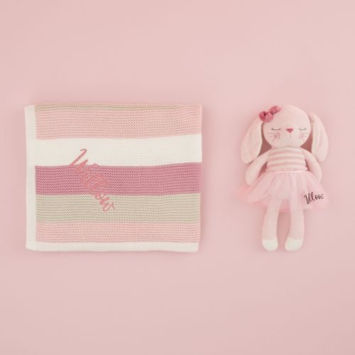 Personalized Little Bunny Stuffed Animal and Blanket Gift Set