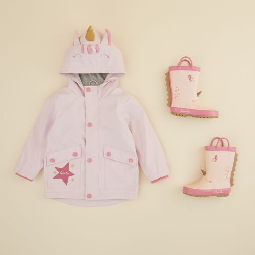 Personalised Little Unicorn Raincoat and Wellies Gift Set