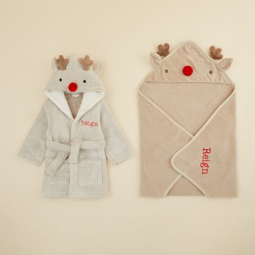 Personalised Reindeer Robe and Hooded Towel Gift Set