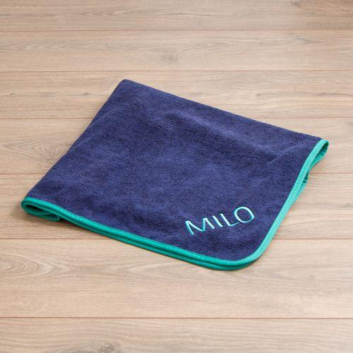 Personalised Navy Microfibre Pet Towel