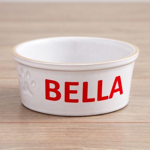 Personalised Small Ceramic White Dog Bowl