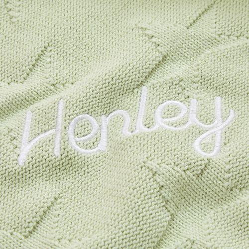 Personalised Sage Green Star Jacquard Blanket