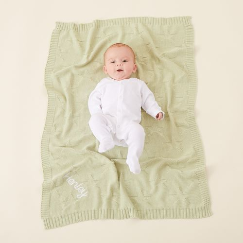 Personalized Sage Green Star Jacquard Blanket